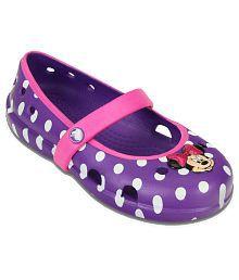 Crocs Roomy Fit Purple Ballerinas For Kids