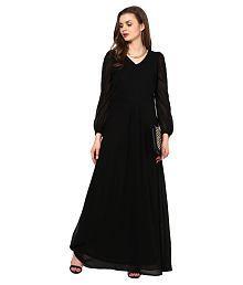 La Zoire Black Georgette Maxi Dress