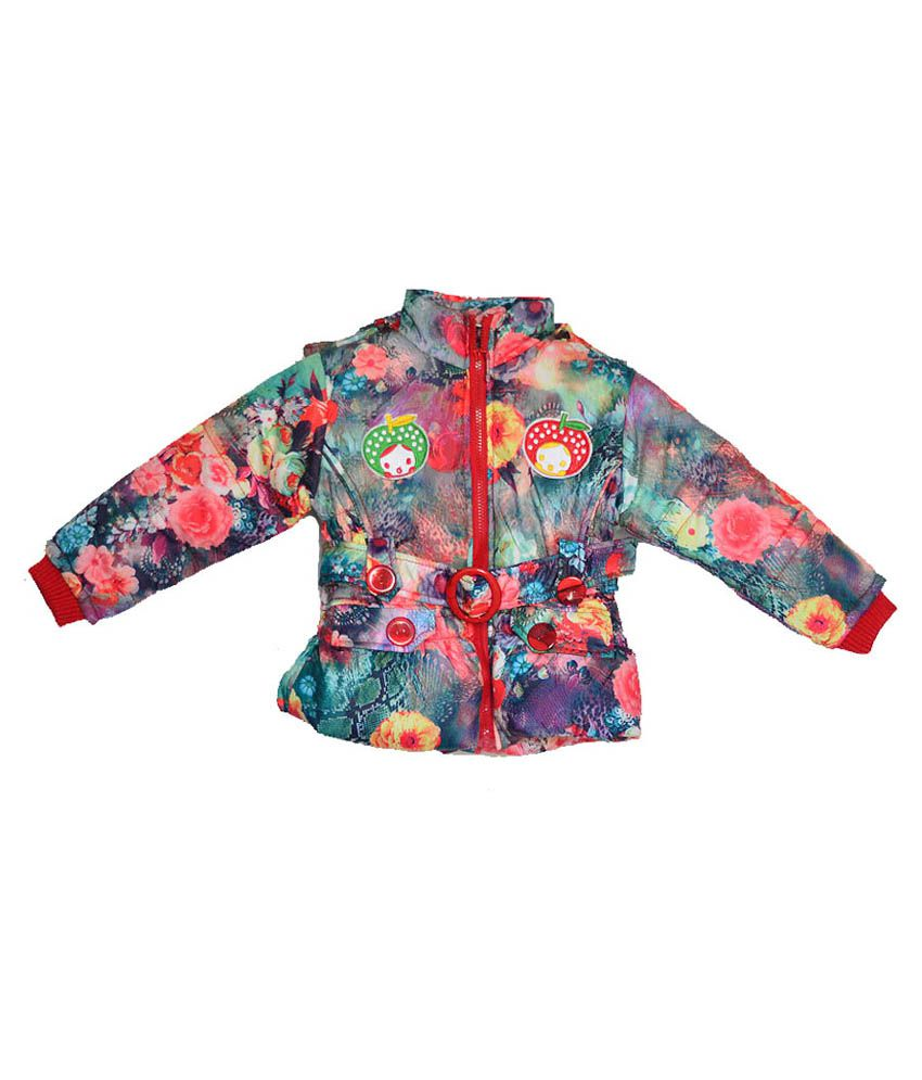 London Girl Multicolour Hooded Jacket For Girls