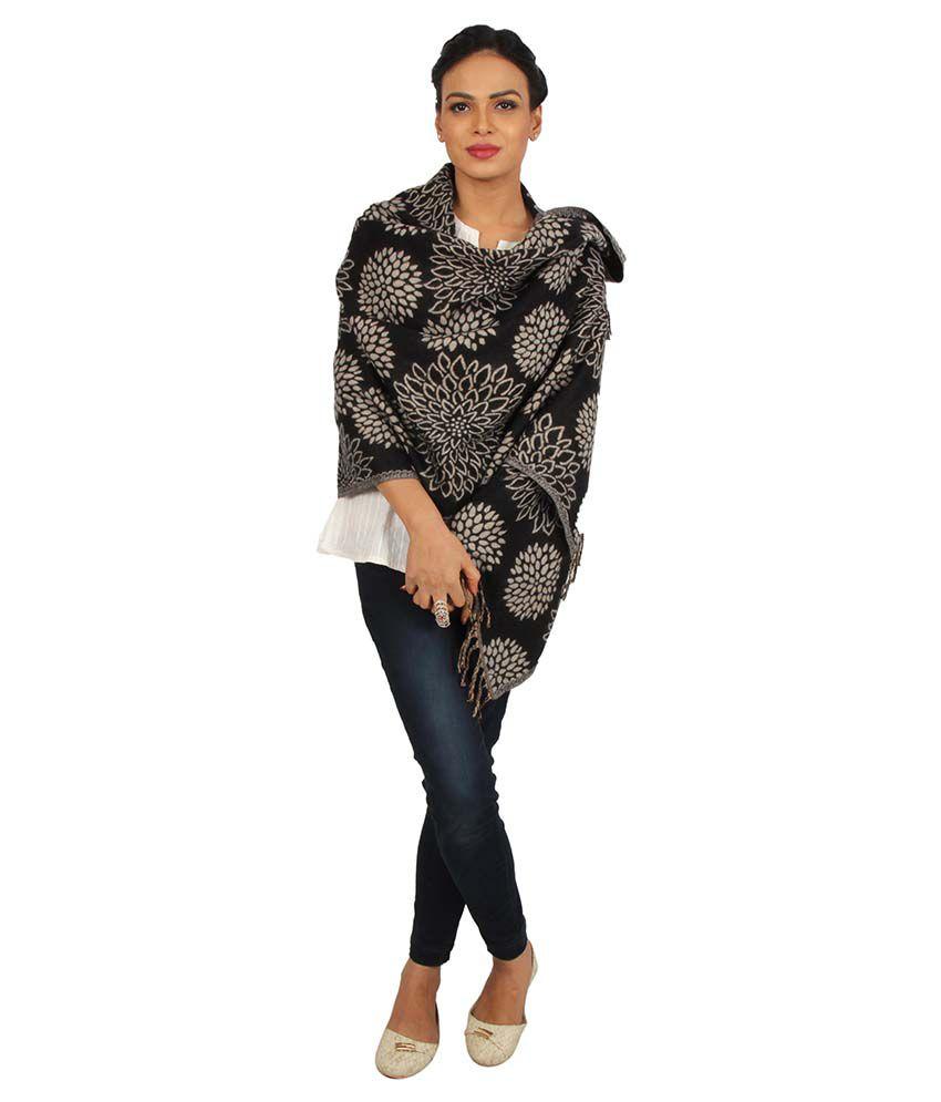 Rama Black And Beige Woollen Shawls