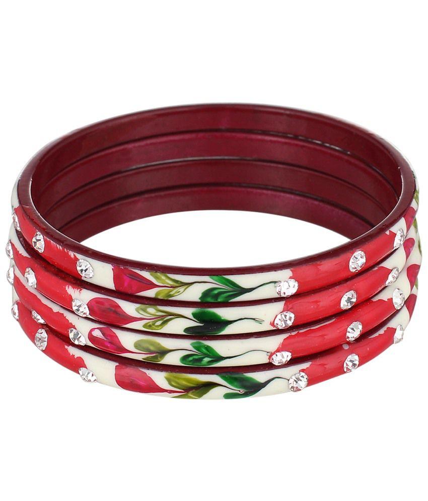 Alibao Red And White Brass Bangle Set Of 4