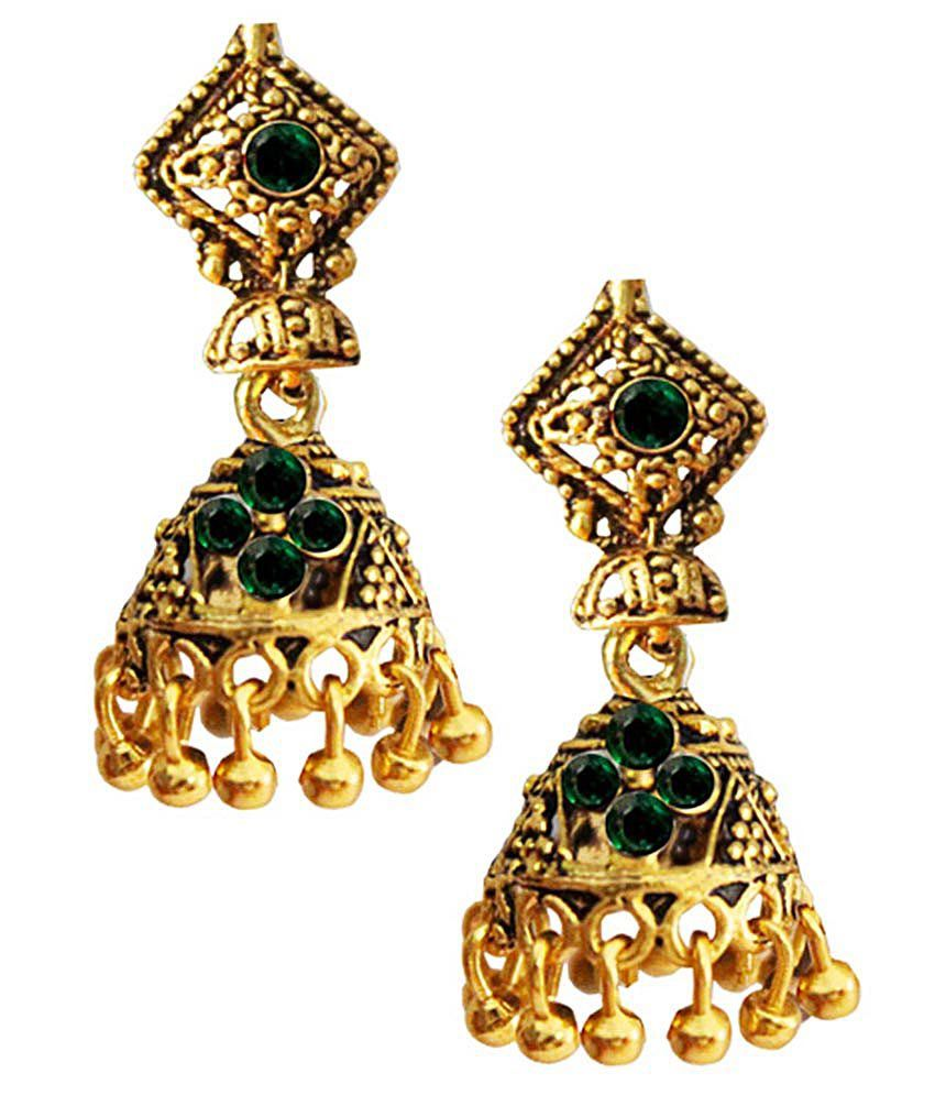Pihu Golden & Green Alloy Jhumki Earrings