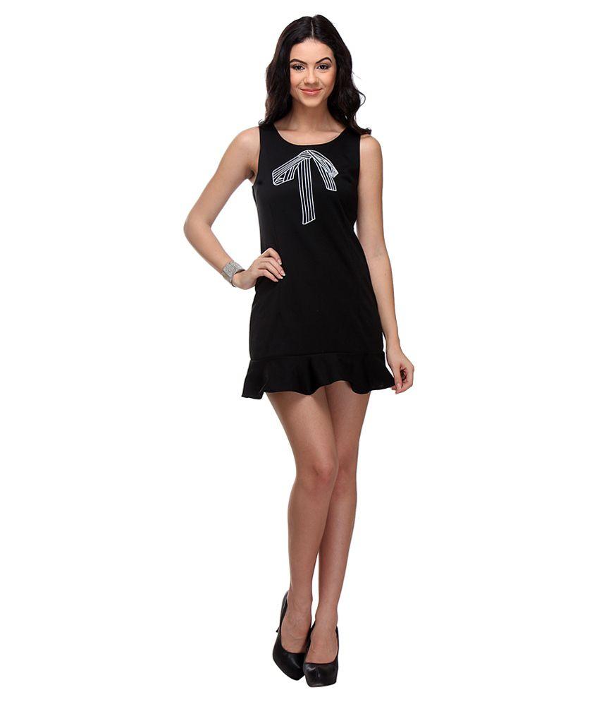 Arth Black Cotton Lycra Dresses