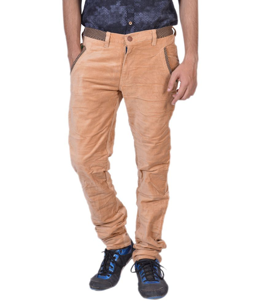 Mj Beige Slim Fit Casual Chinos