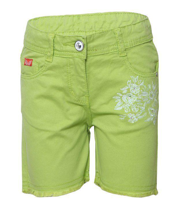 Tales & Stories Green & White Cotton Bermuda Shorts