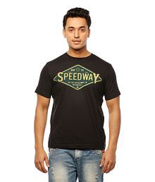 Huetrap Black Cotton Speedway Sign Board Casual T-shirt for sale  Delivered anywhere in India