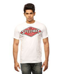 Huetrap White Cotton Speedway Sign Board Casual T-shirt for sale  Delivered anywhere in India