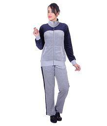Vivid Bharti Style Collar Cotton Velvet/shearing Tracksuit