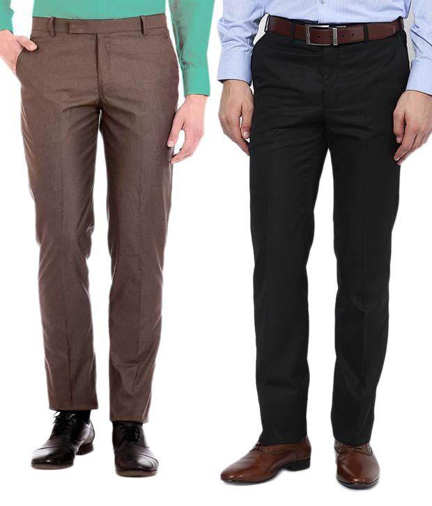 AD & AV Multicolor Regular Fit Formal Flat Trousers - Pack Of 2