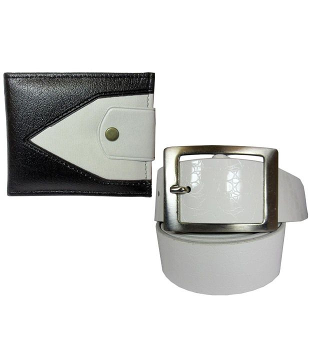 Apki Needs White Casual Belt And Wallet For Men