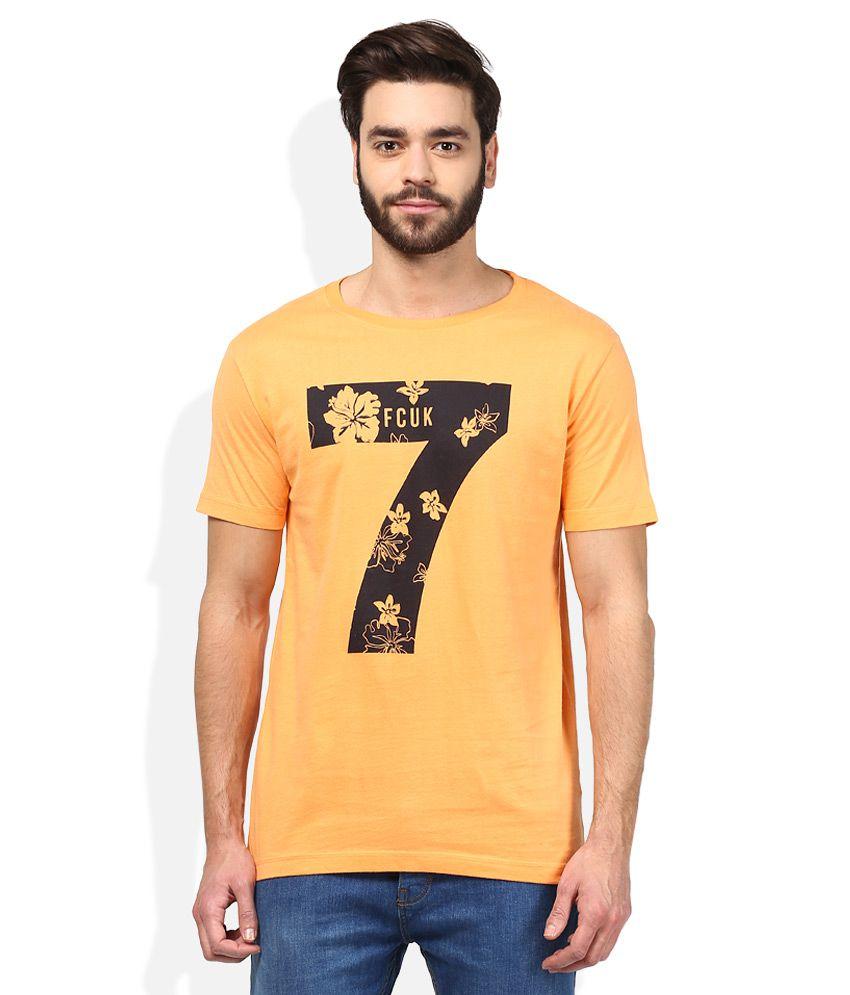 FCUK Orange Round Neck T-Shirt