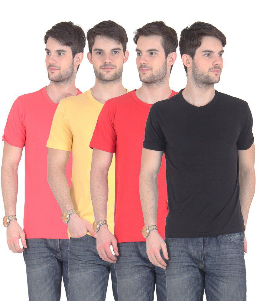 Fnme Multicolor Cotton Blend T-shirt - Pack Of 4