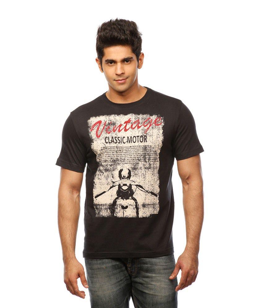 Huetrap Black Cotton Motorsport Freak Casual T-shirt