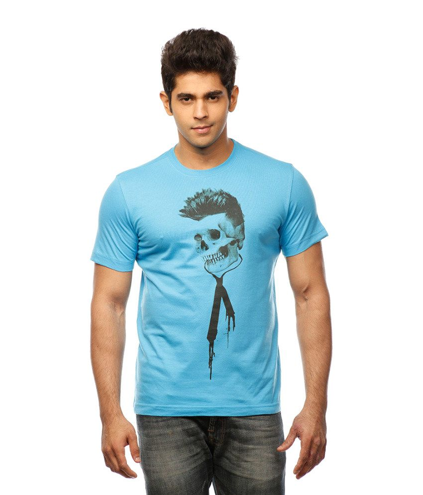 Huetrap Blue Cotton Funky Skull Print Casual T-shirt