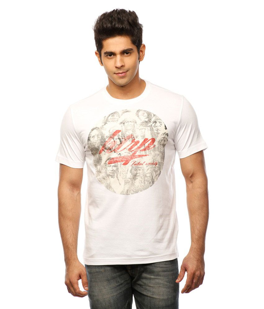 Huetrap White Cotton Tribal Faces Casual T-shirt