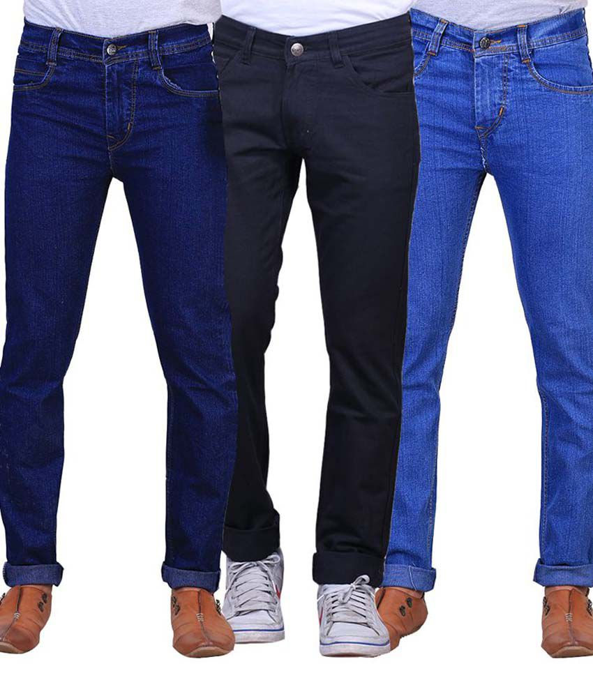 X-cross Blue & Black Slim Fit Jeans Pack Of 3