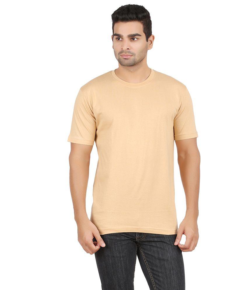Cool Kolors Beige Cotton Round T-shirt