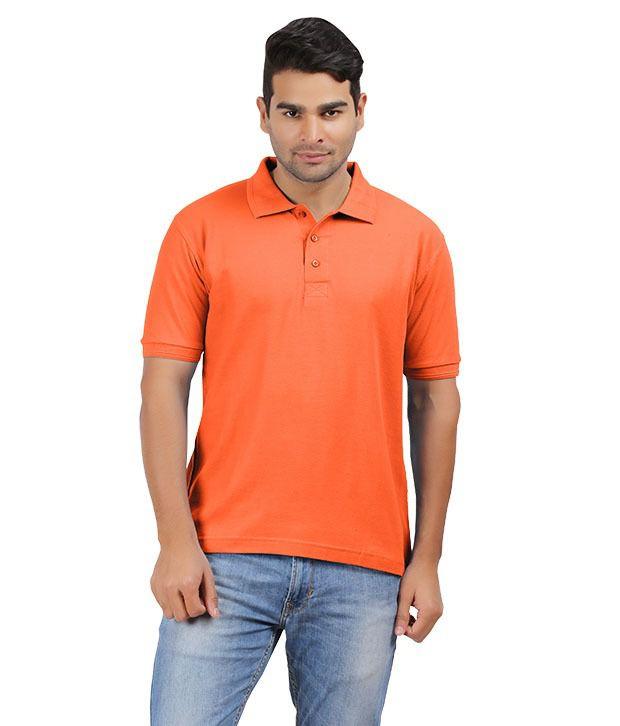 Cotton Collection Orange Cotton Polos T-shirt