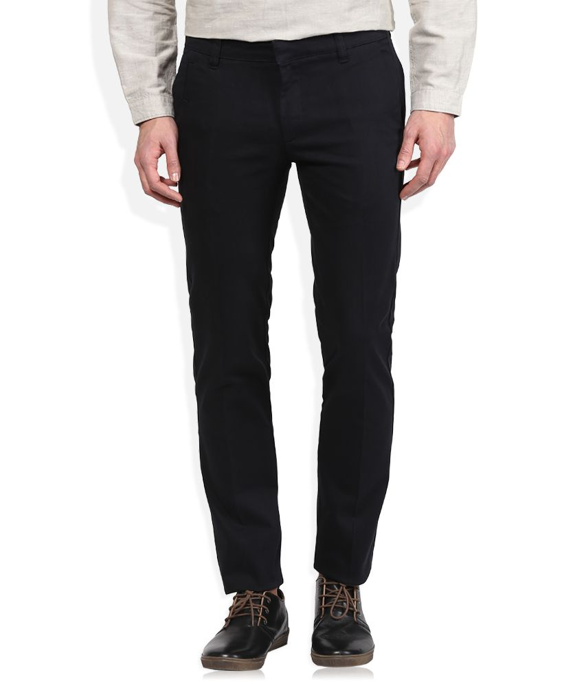 John Players Black Slim Fit Flat Trousers