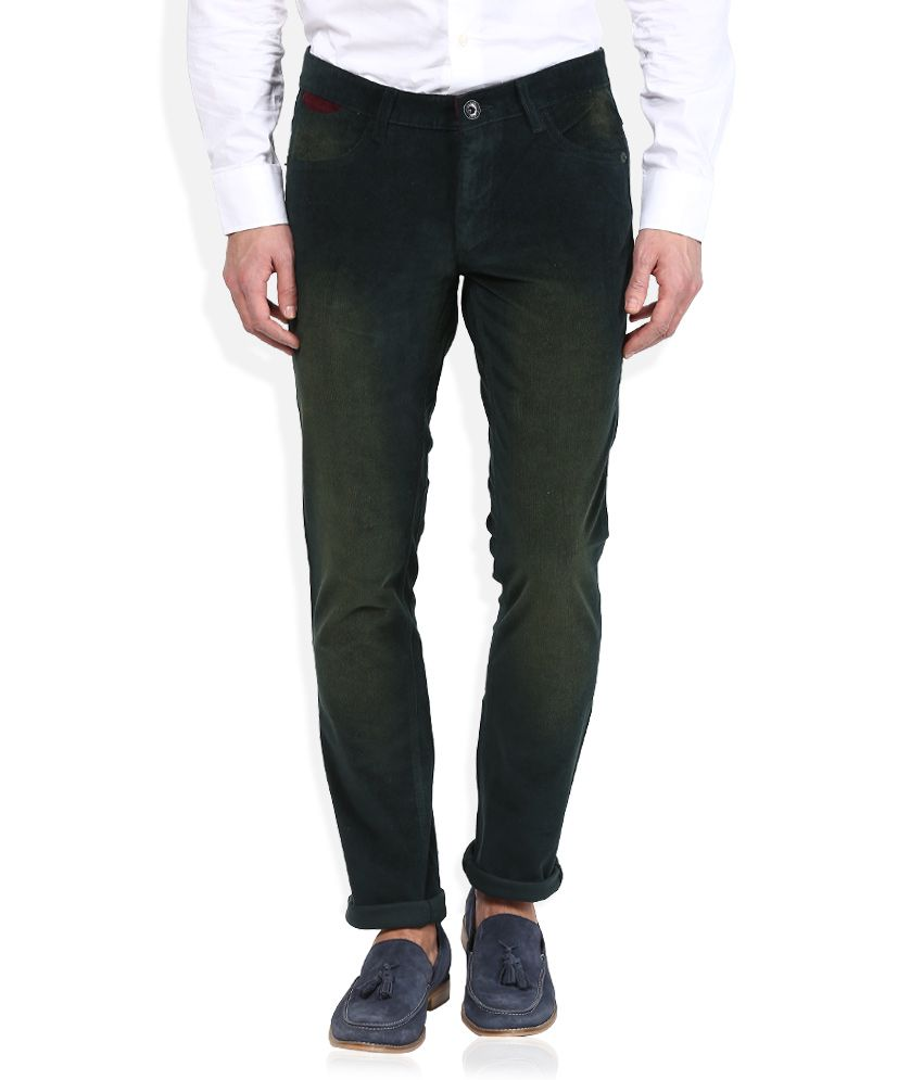 John Players Green Solid Chinos