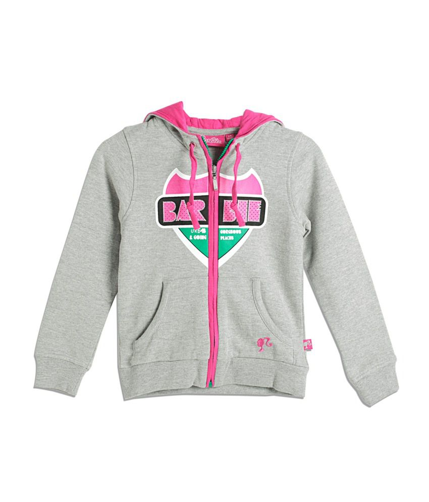 Barbie Gray and Pink Blended Cotton Sweatshirt