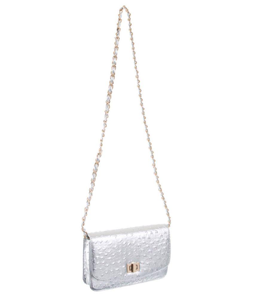 Peaubella Silver Sling Bag - Buy Peaubella Silver Sling Bag Online ...
