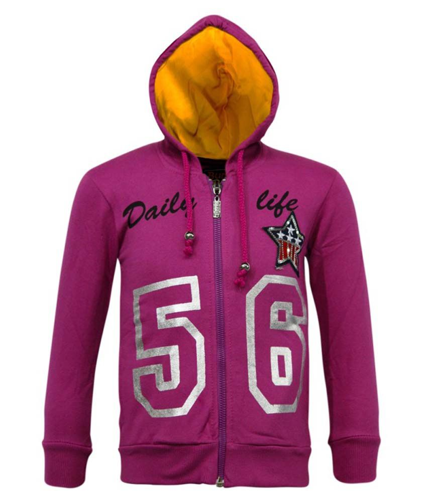 Kothari Purple Fleece Hooded Sweatshirt
