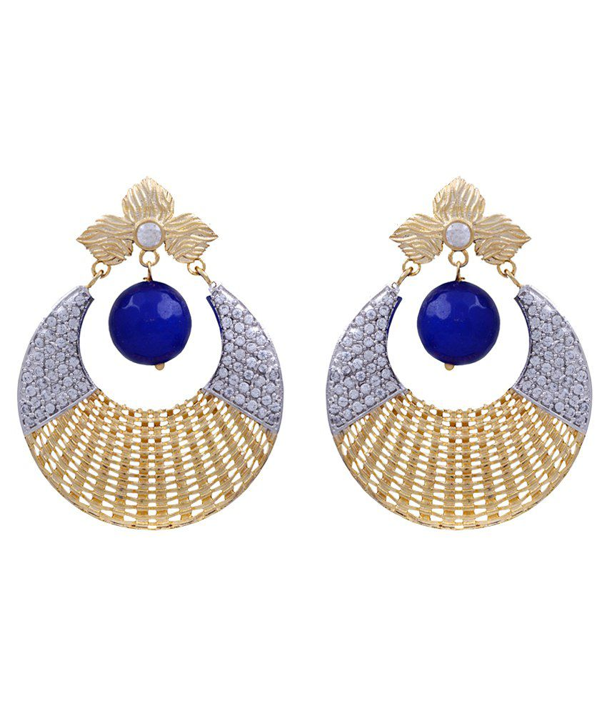Jewel Planet Blue Alloy Hoop Earrings