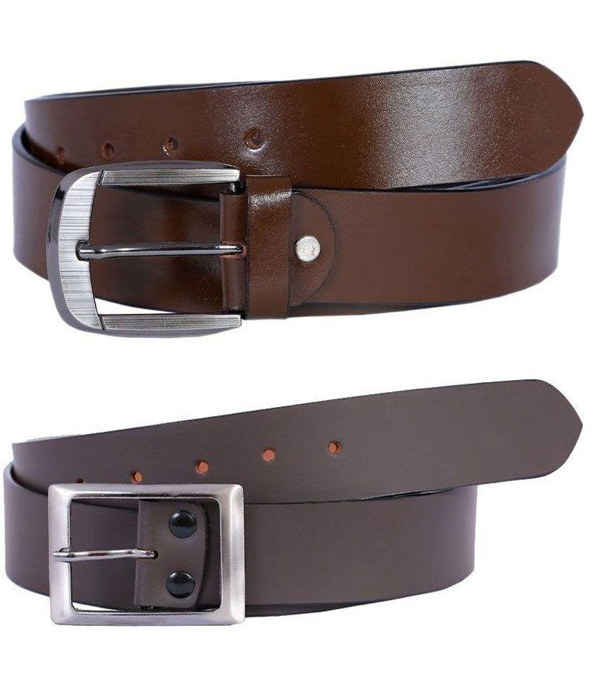 A R Enterprises Brown And Grey Formal Belt For Men - Pack of 2