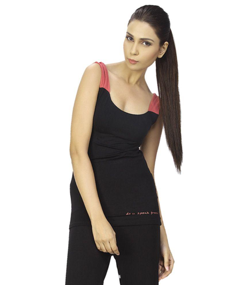 Douspeakgreen Black & Pink Swara Organic Yoga Top