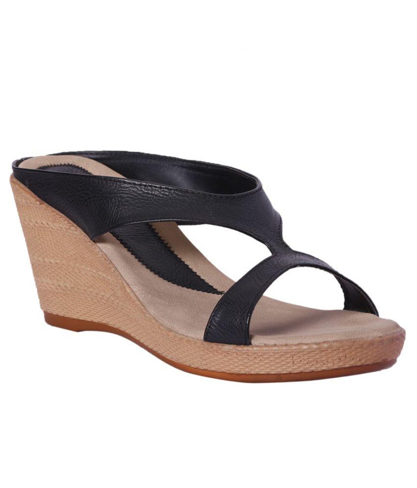 Pantof Black Wedges Heels