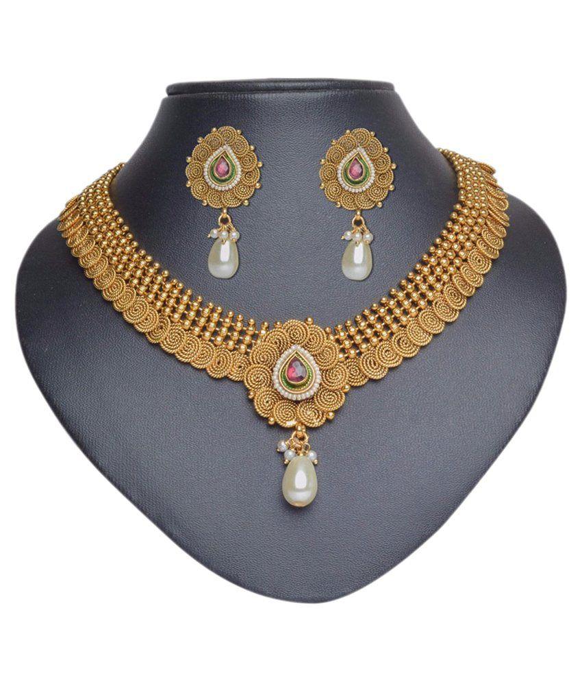Pourni Golden Brass Bridal Necklace Set