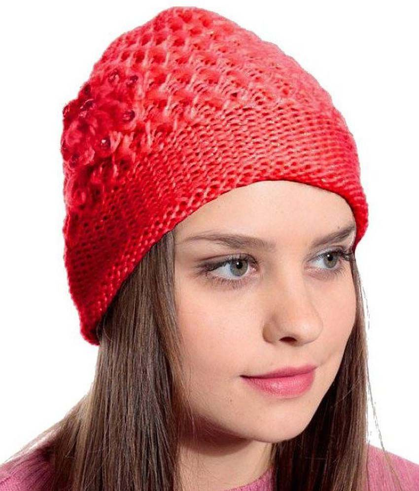 6b1822f6376 Zacharias Red Woolen Cap for Women  Buy Online at Low Price in India -  Snapdeal