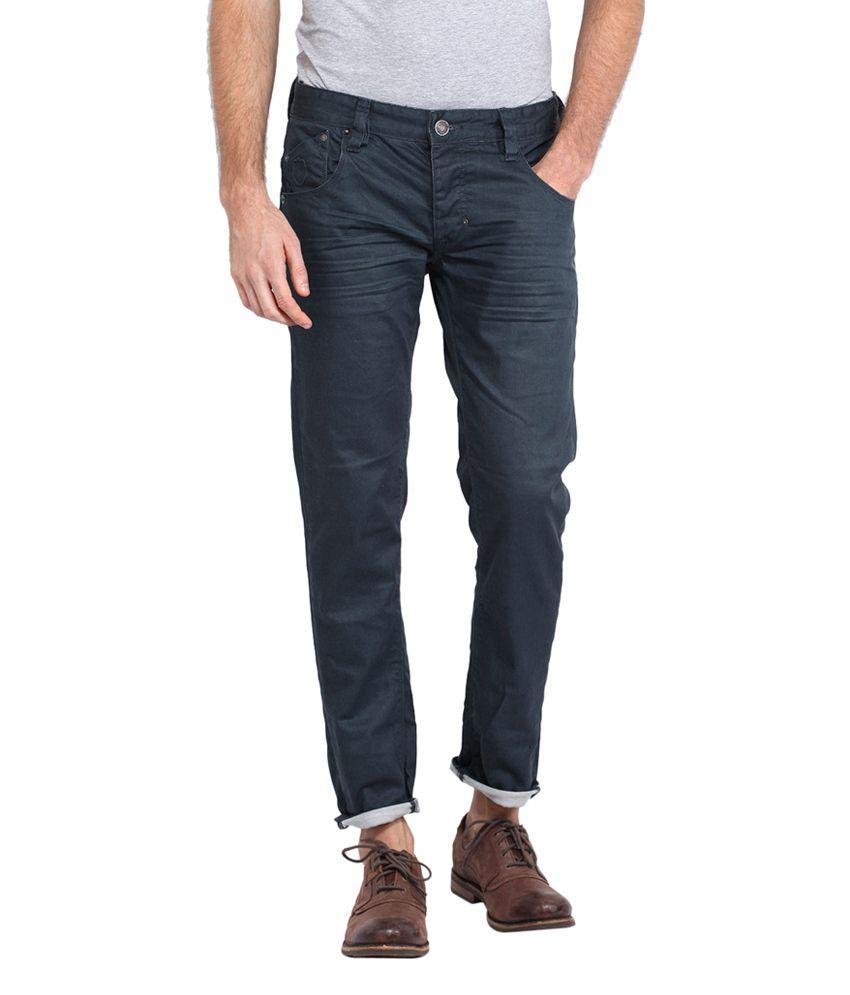 883 Police Blue Cotton Blend Slim Fit Basic Jeans