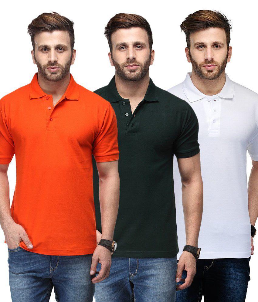 Ausy Multicolor Cotton Blend T-Shirt -Set of 3