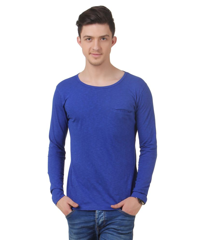 Frost Blue Cotton Blended T-shirt