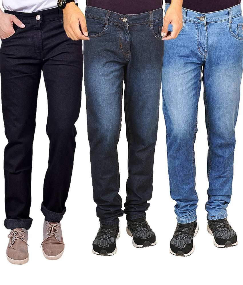 Masterly Weft Multicolor Regular Fit Jeans - Pack Of 3