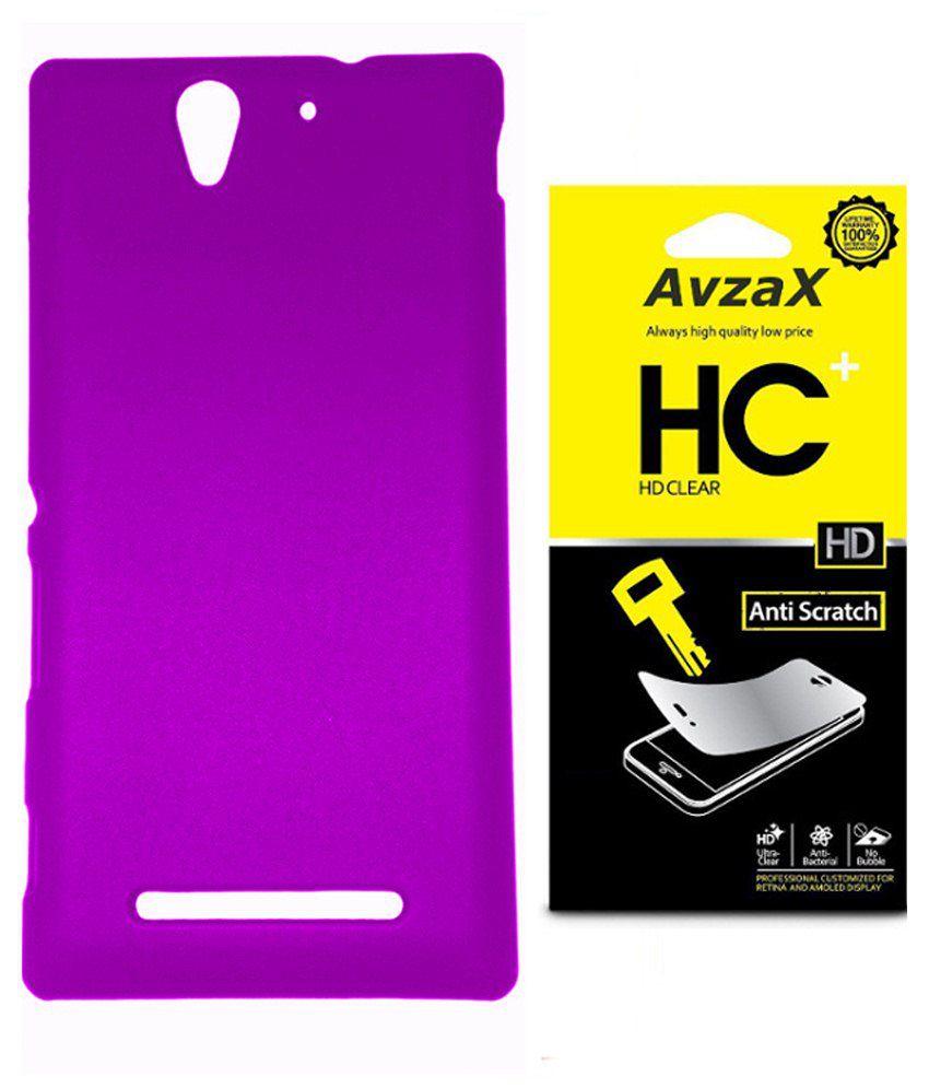 Avzax Back Cover For Sony Xperia M4 Aqua-purple With Screen Guard