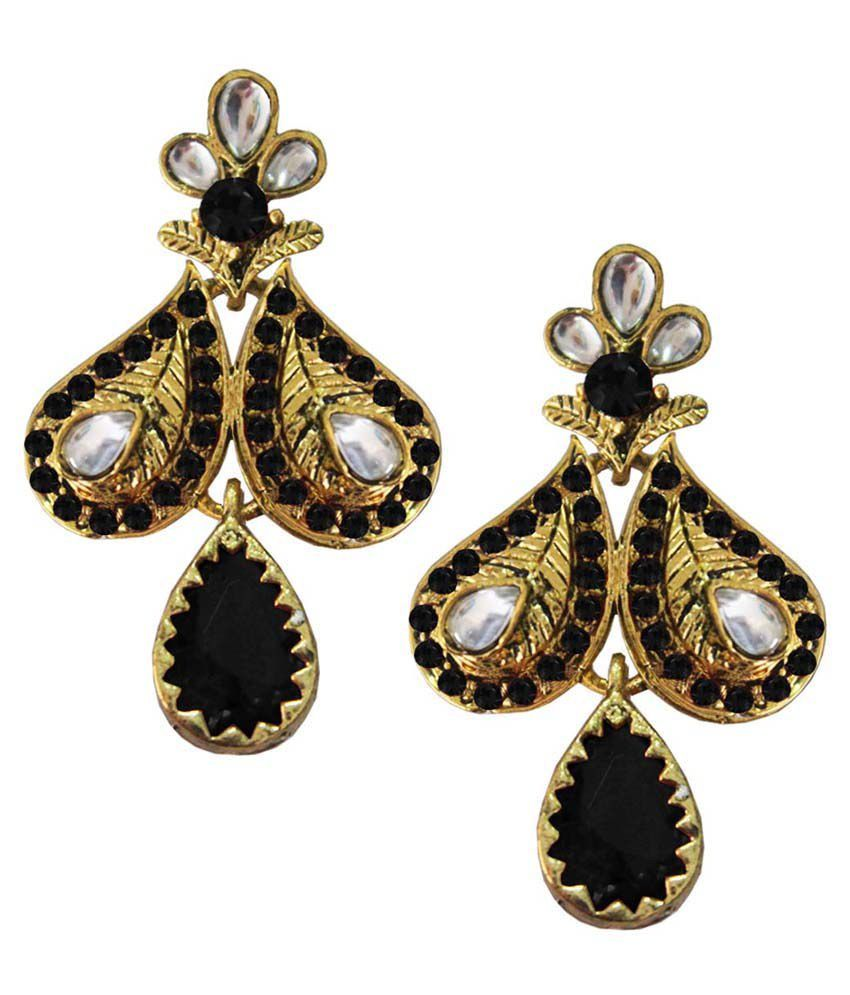 Pihu Black & Golden Alloy Hanging Earrings