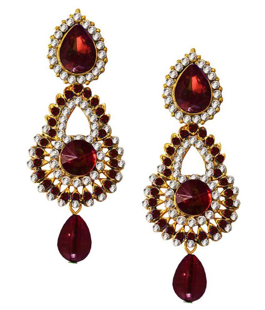 Pihu Brown & Golden Alloy Hanging Earrings