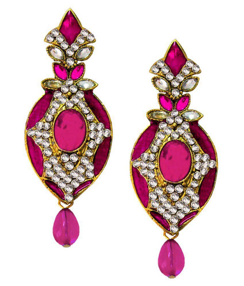 Pihu Pink & Golden Alloy Hanging Earrings
