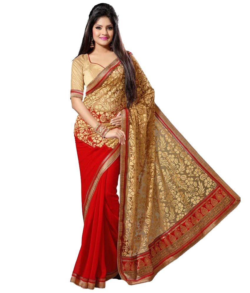 Sareeshop designer sarees red brasso designer saree buy for Designer com