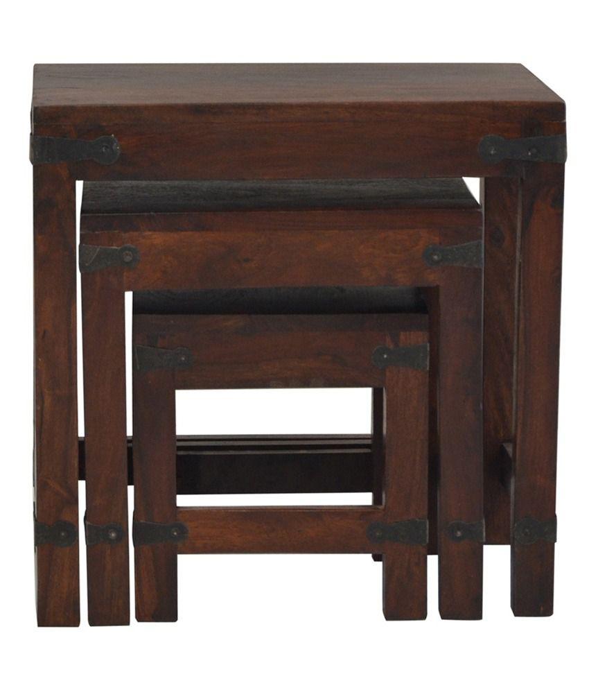 Shekhawati Solid Wood Nesting Table Set of 3 - Buy ...