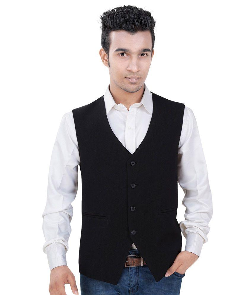 V-mens Black Casual Waistcoat