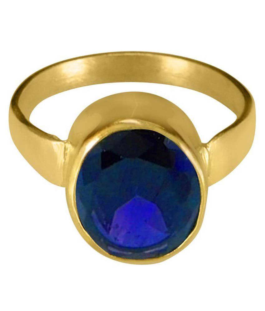 Asian Gems & Jewels Cultured Blue Sapphire / Neelam Gemstone Finger Ring (panch Dhaatu) Of 2.25 Ratti