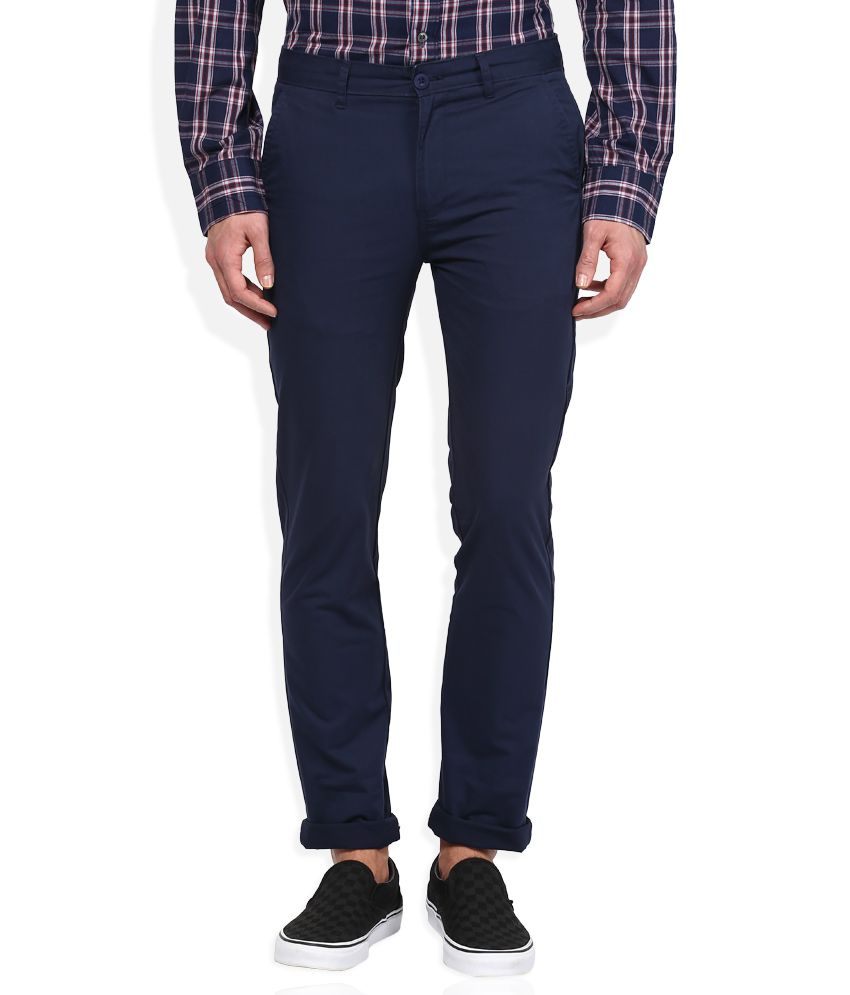 Stop Navy Blue Solid Flat Front Trousers