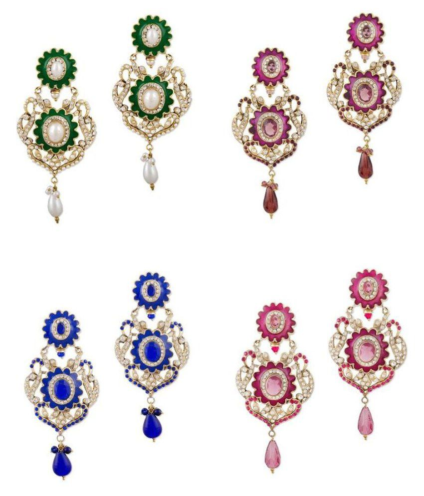 Sudharaj Multicolour Brass & Copper Earrings Combo Of 4