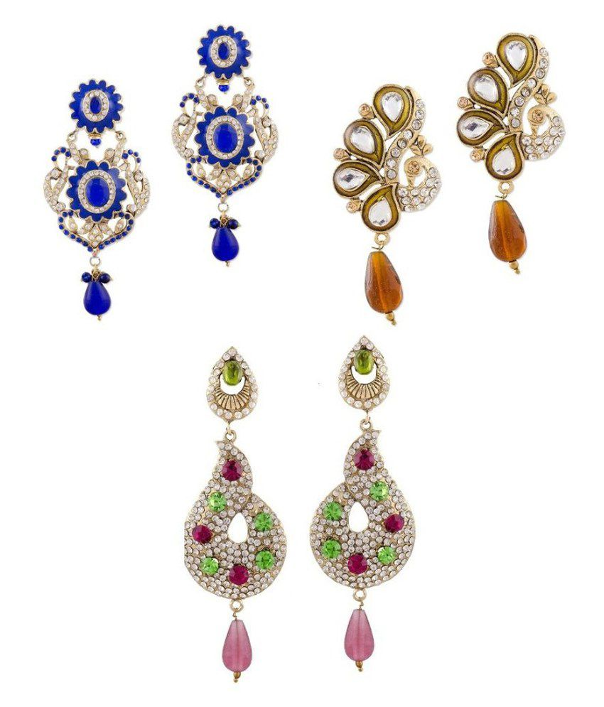 Sudharaj Multicolour Brass & Copper Earrings Combo Of 3