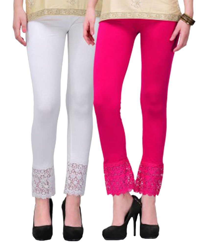 Fashion Arcade Pack of 2 White & Pink Viscose Lace Leggings