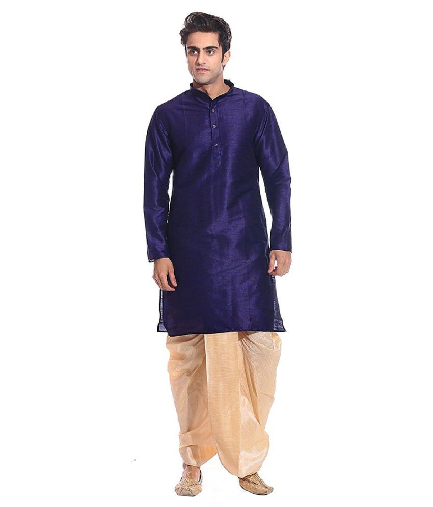 Larwa Multicolour Wedding Silk Long Dhoti Kurta Set